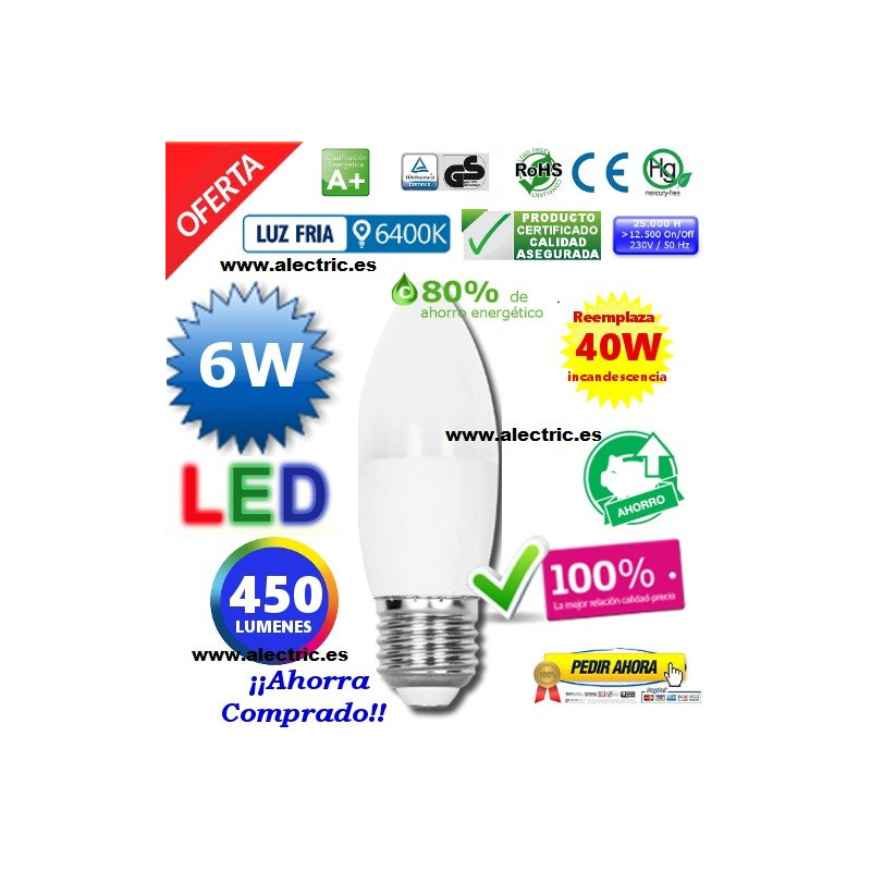 Bombilla led Vela E27  6W luz blanca
