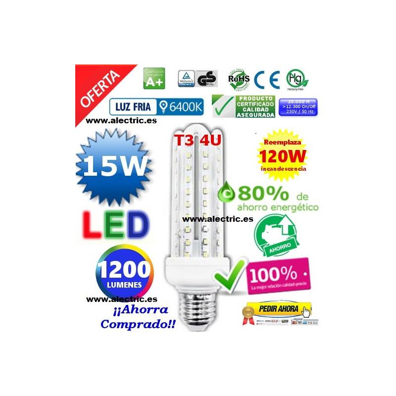 Bombilla led T3 E27 15W luz blanca