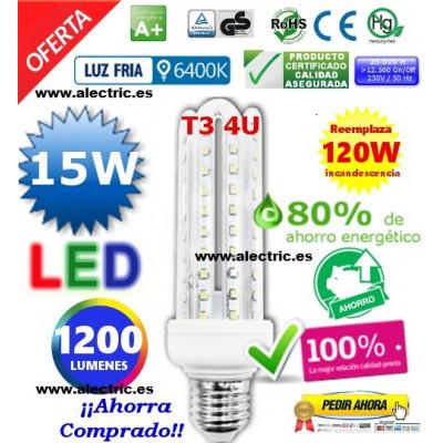 Bombilla led T3 E27 15W luz cálida