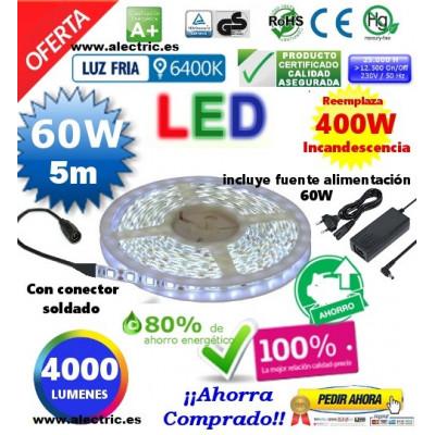 Kit tira led 5m y fuente 12v luz blanca