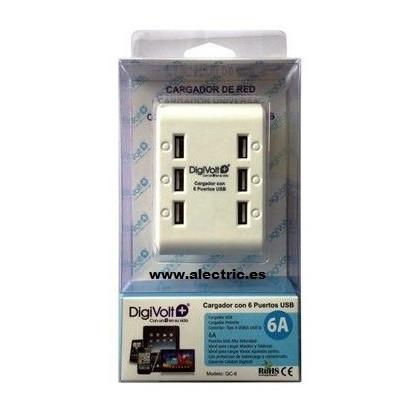 Cargador con 6 puertos USB 5V